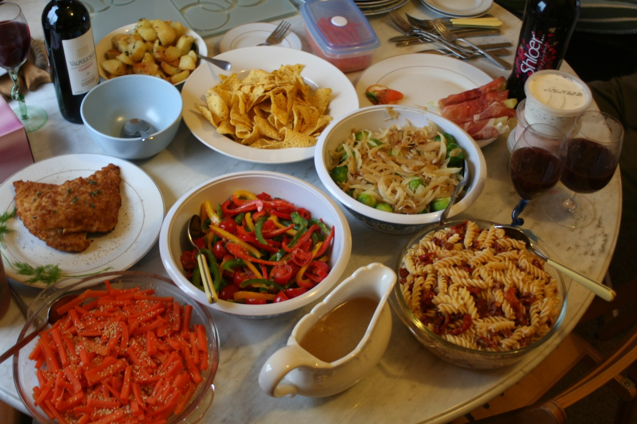 dining table with food