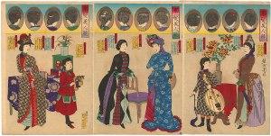 Kaika-e / Artist: Chikanobu Toyohara / Title: Women and Girls in Western Dress with Various Hairstyles
