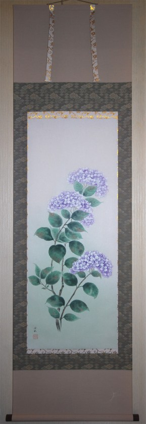 hydrangeas tsuyu hanging scroll kakejiku rainy season