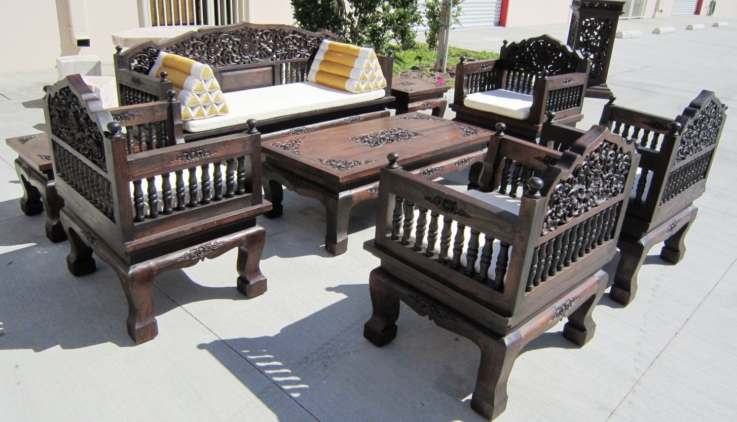 Wood Sala Set Ideas Hand Carved Set Of 8 Piece Teak Wood Living Room Set