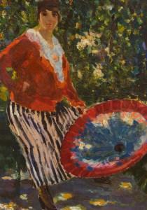 C. Corsi, Figura con ombrellino, 1922