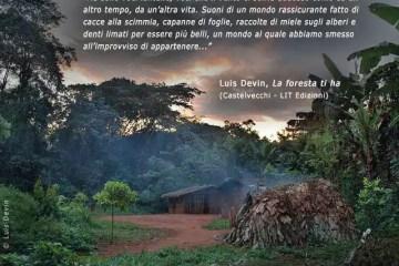 L'immagine di un accampamento di pigmei tratta dal libro di Luis Devin