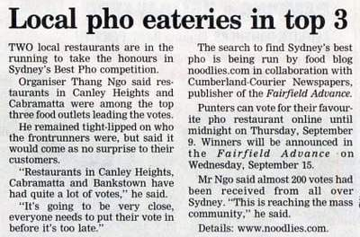 Local Pho Eateries in top 3