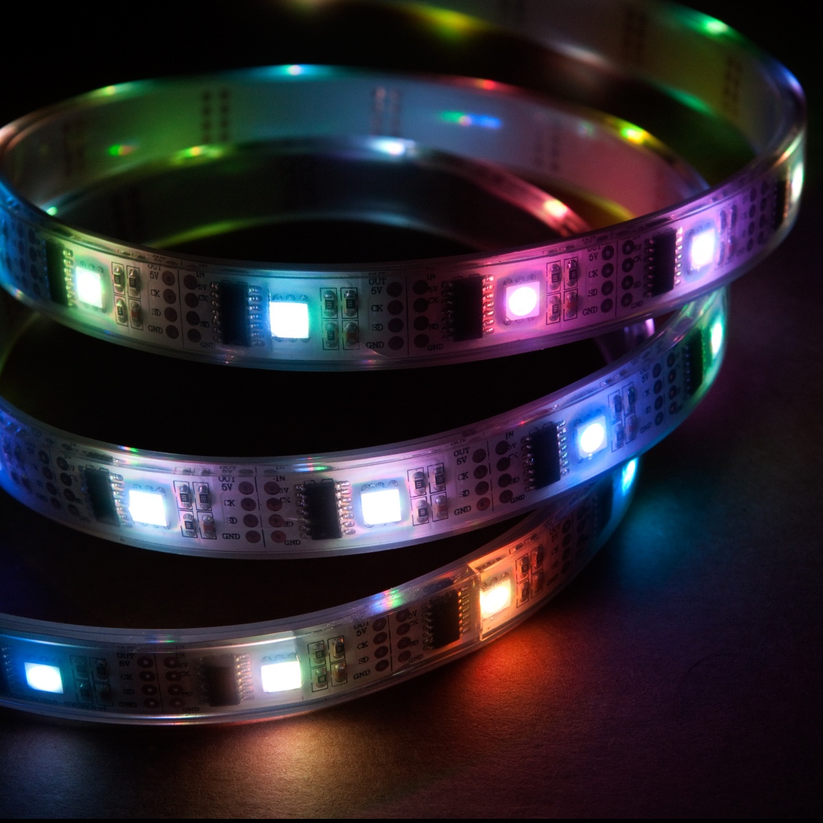 Led Strip Waterproof 5m Addressable 24 Bit Rgb Led Strip Waterproof Ws2801 32 Pixels Per Meter