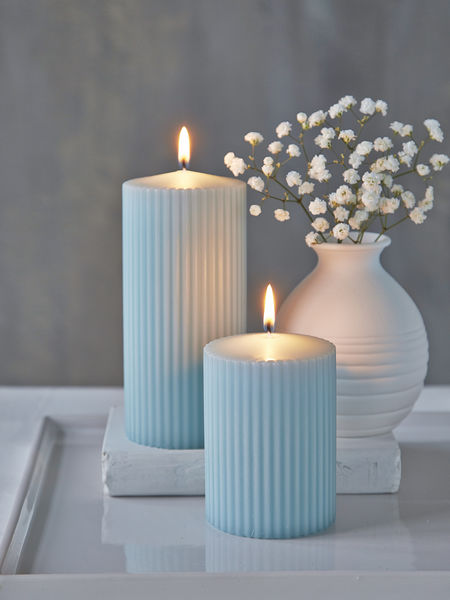 Sheepskin Rilled Pillar Candles - Heavenly Blue