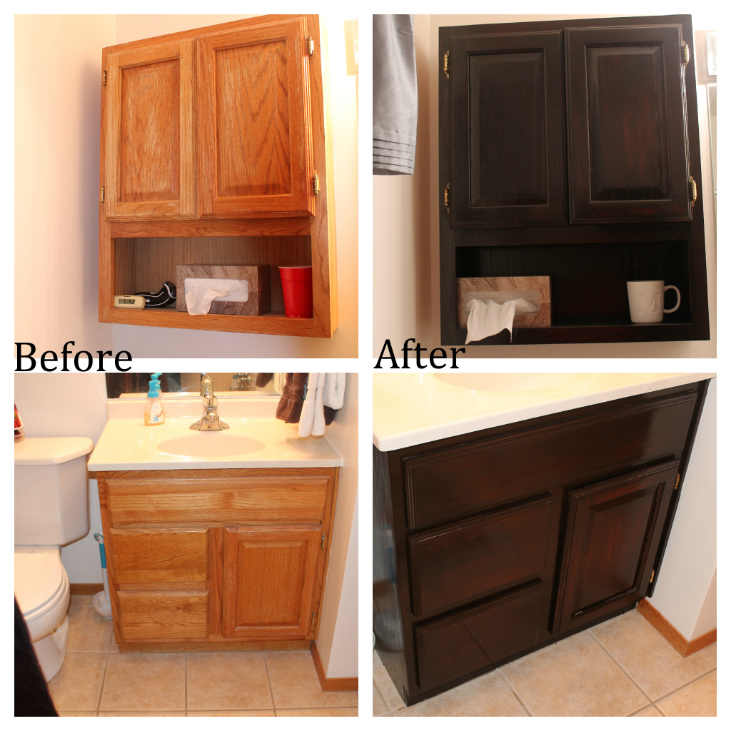 Oak Kitchen Cabinets Dark Stain Staining Oak Bathroom Cabinets No Regrets Living