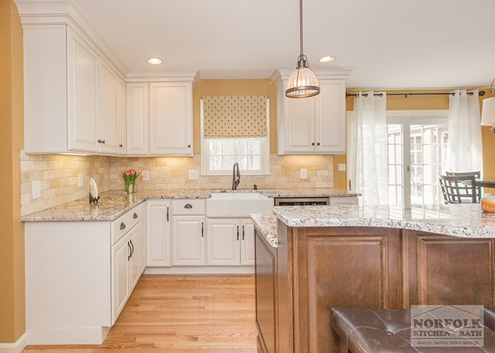Kitchen Table Island Combination Bedford Nh Kitchen - White Cabinets With Maple Island