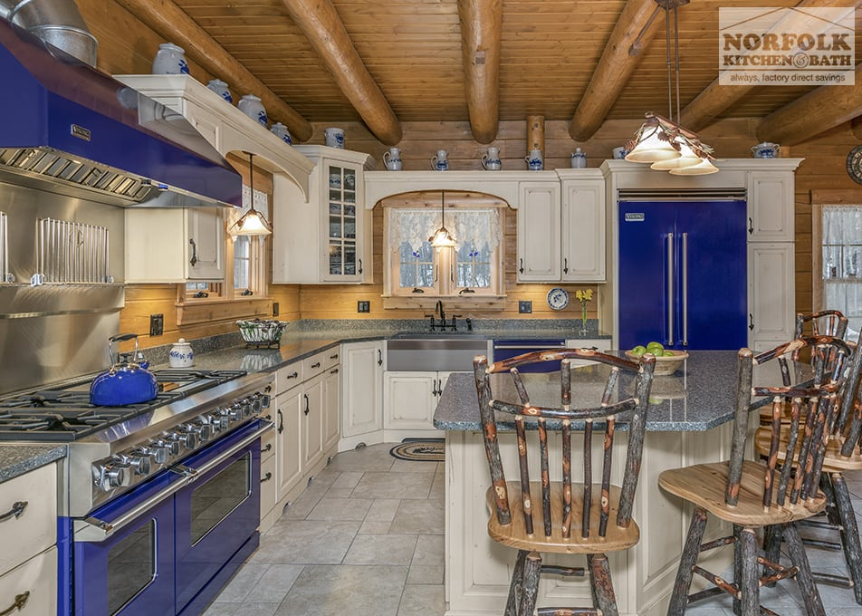 Design Kitchen Layout Cabinets Log Cabin Kitchen With Blue Appliances - Norfolk Kitchen