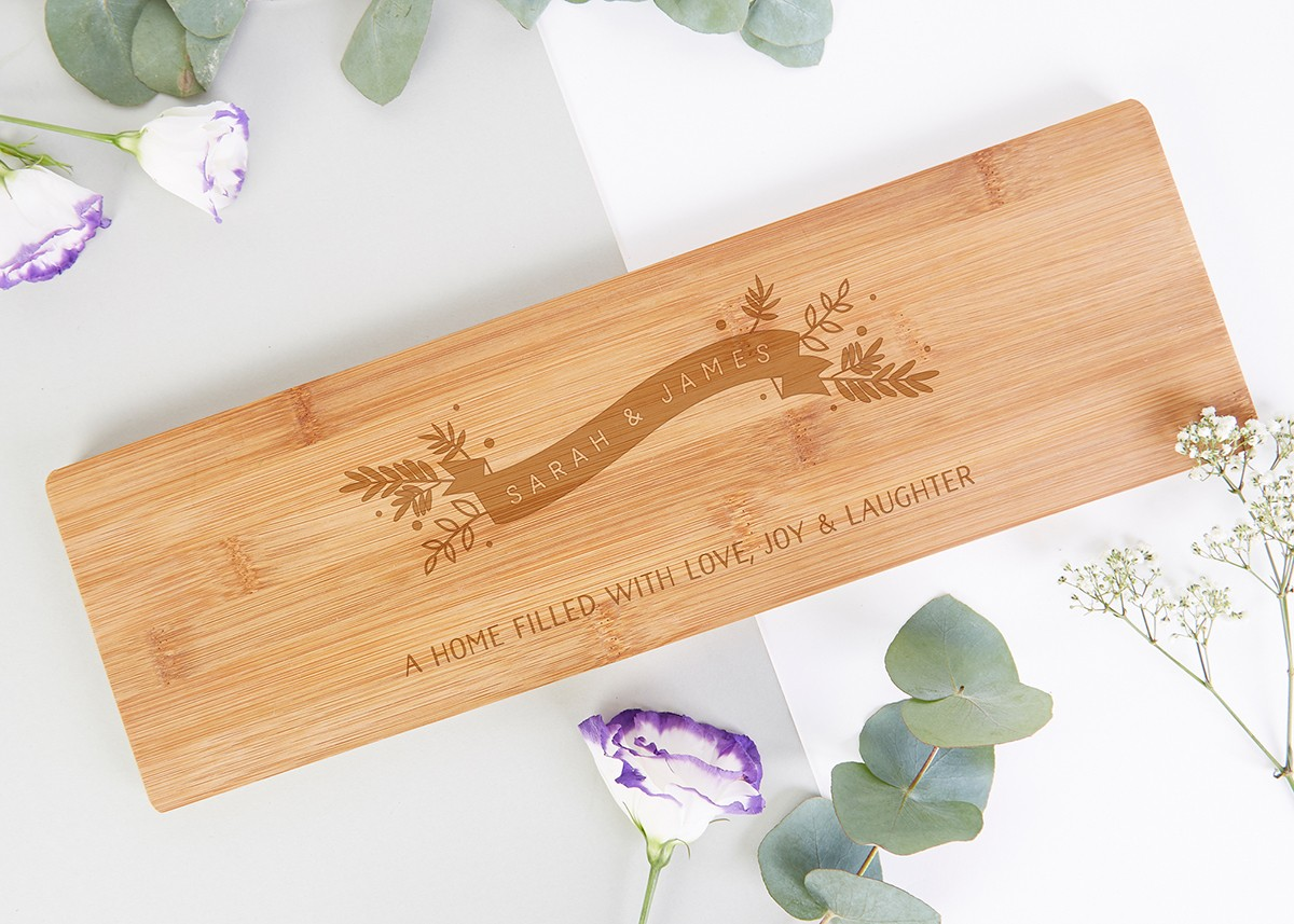Personalised New Home Gifts New Home Gift Personalised Floral Wooden Serving Board