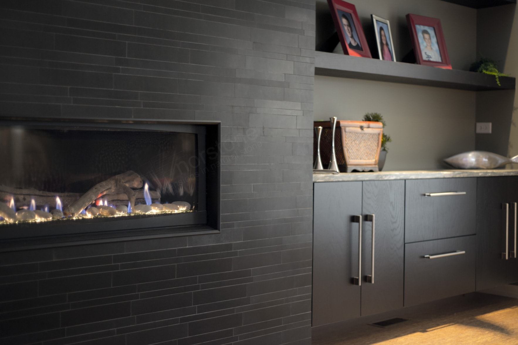 Modern Fireplace Insert Modern Stone Fireplace In Chicago