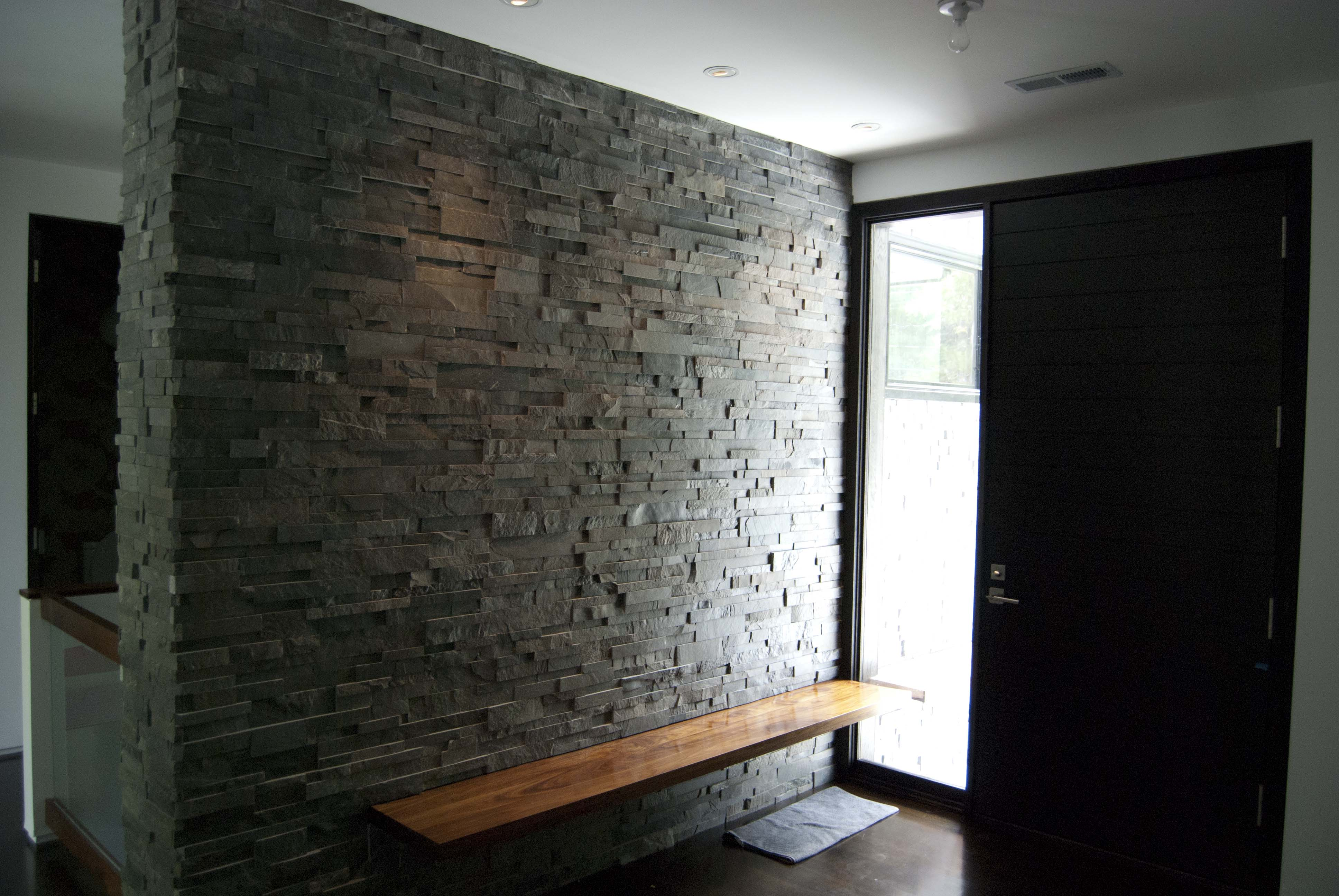 Accent Stone Wall Charcoal Stone Mid Century Modern Home