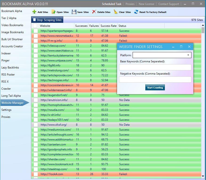 Bookmark Alpha Website Scraper