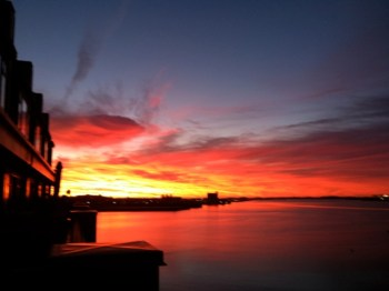 Fiery North End Waterfront Sunrise by Ellen Previte