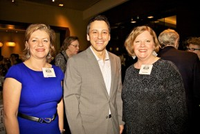 Friends NE Library President Robin Ardito (right) and VP Paula Luccio with State Rep. Aaron Michlewitz