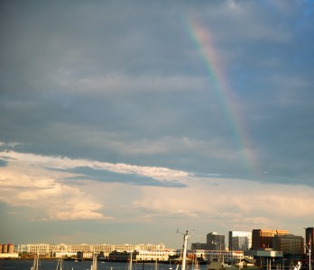 Rainbow over Boston Harbor and Seaport - June 2012 by Matt Conti