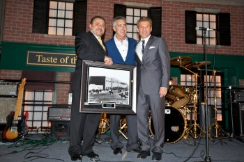 Host of TV Diner, Billy Costa, (center) Accepts Fenway Park 1912 Opening Day Photo from Co-Chairs, Donato Frattaroli (left) and Jim Luisi (right)