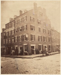 Corner Lewis and Fulton Streets - 1855 (Courtesy of Boston Public Library)