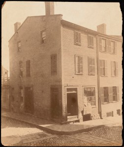John B. Wells House, North End, corner of Foster and Charter Streets (Foster was formerly Sliding Alley. Sliding Alley was formerly Jackson (Courtesy of Boston Public Library)