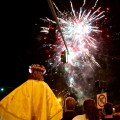 Santa Lucia watches the closing fireworks - August 2012 by Matt Conti