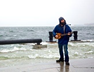 Never a bad time to play some music - At Long Wharf during hurricane Sandy (Photo by Matt Conti)