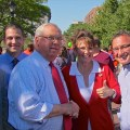 Sarah's Look-a-like is greeted by Boston's Democratic local officials - October 2011 (Photo by Matt Conti)
