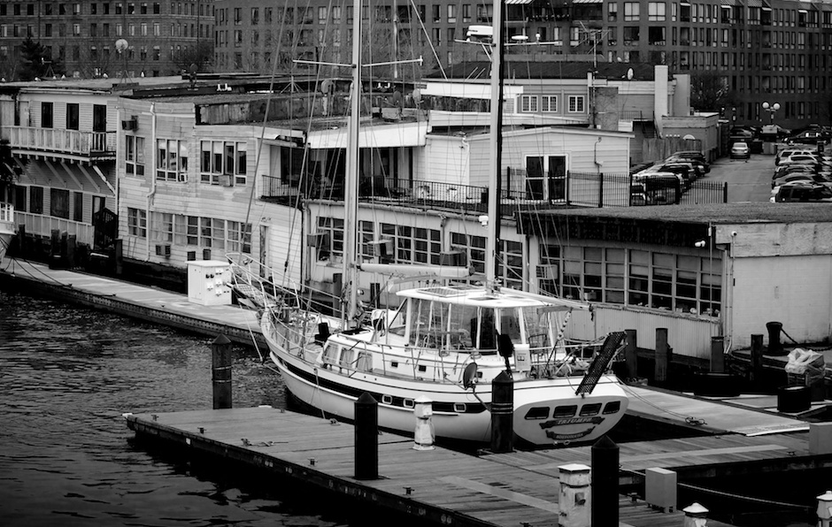 Burned Out Building at Commercial Wharf - Triumph Boat Docked