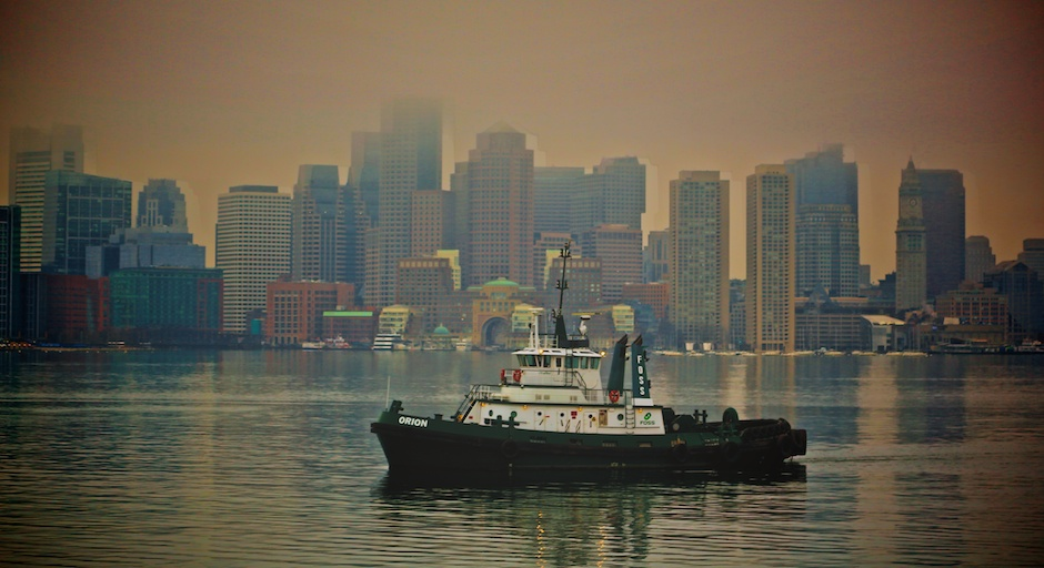 Orion Tugboat in Boston Harbor with Skyline