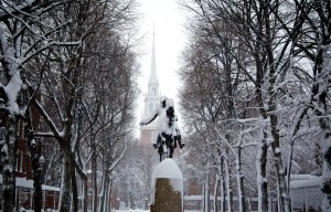 Paul Revere Statue and Old North Spire on Prado after Blizzard (Photo by Matt Conti)