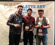 Cabell Rice (center) has won &quot;Latte Art World Championship&quot; at Coffee Fest
