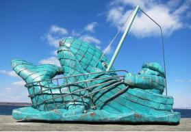 Peter Diepenbrock - Fish or Man, A Tribute to the Sicilian Fishermen of Boston - This concept finds its allegorical inspiration in a whimsical, blended interpretation of Jonah and The Whale, The Old Man and the Sea, and the Anello Piscatorio or Ring of the Fisherman, warn by the Pope.
