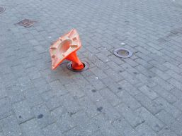cone in hole on atlantic ave