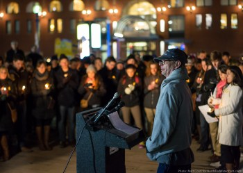 Father Keith Munsell speaking at the vigil for his son, Eric