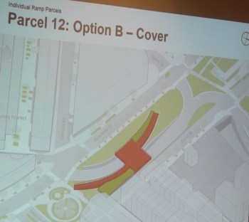 Option B for Parcel 12 includes ramp walkways to an elevated center observation area (MassDOT image)