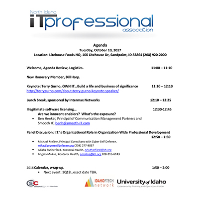 Event Notes INWTPA Inland Northwest Tech Pros Association