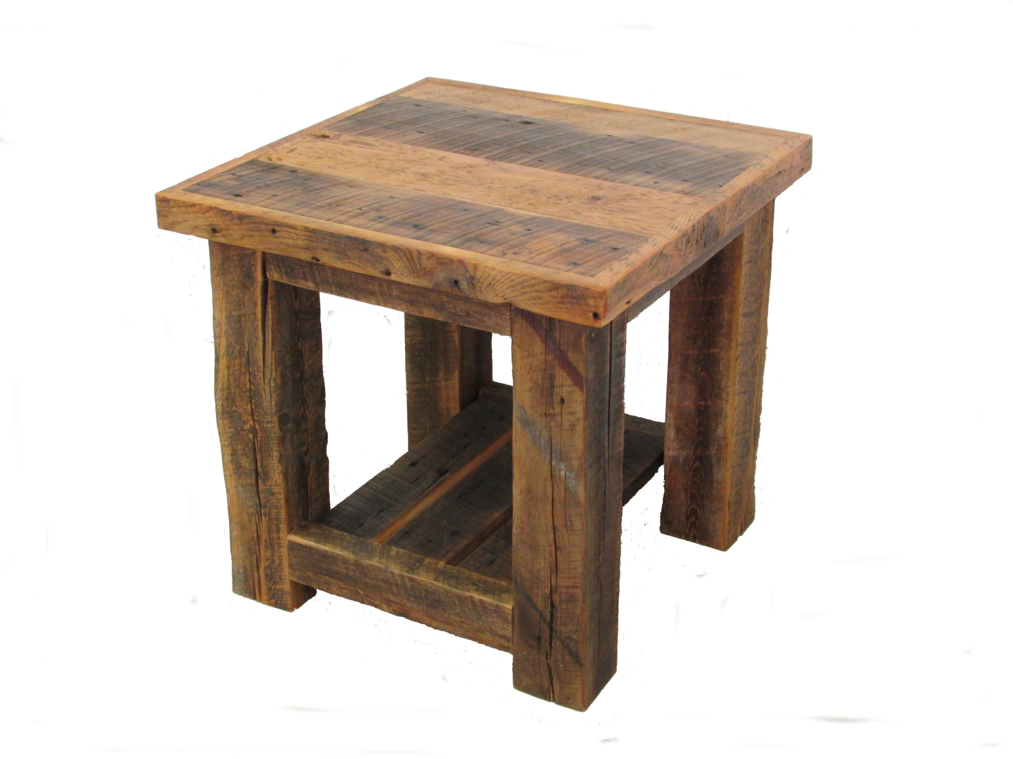 Wooden End Table Reclaimed Barn Wood Post End Table White Cedar Barnwood