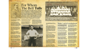 Page one of an article written by John Fennelly about Walter that appeared in the Tottenham Hotspur monthly magazine Hotspur