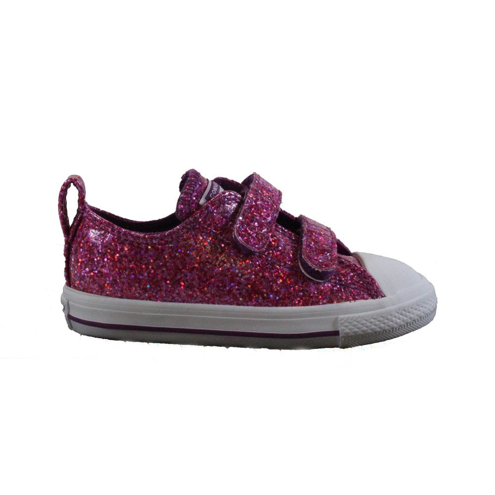 Baby White Converse Pram Shoes Chuck Taylor All Stars 2v Ox 762346c Violet Sparkle Girls Rip Tape Sneakers