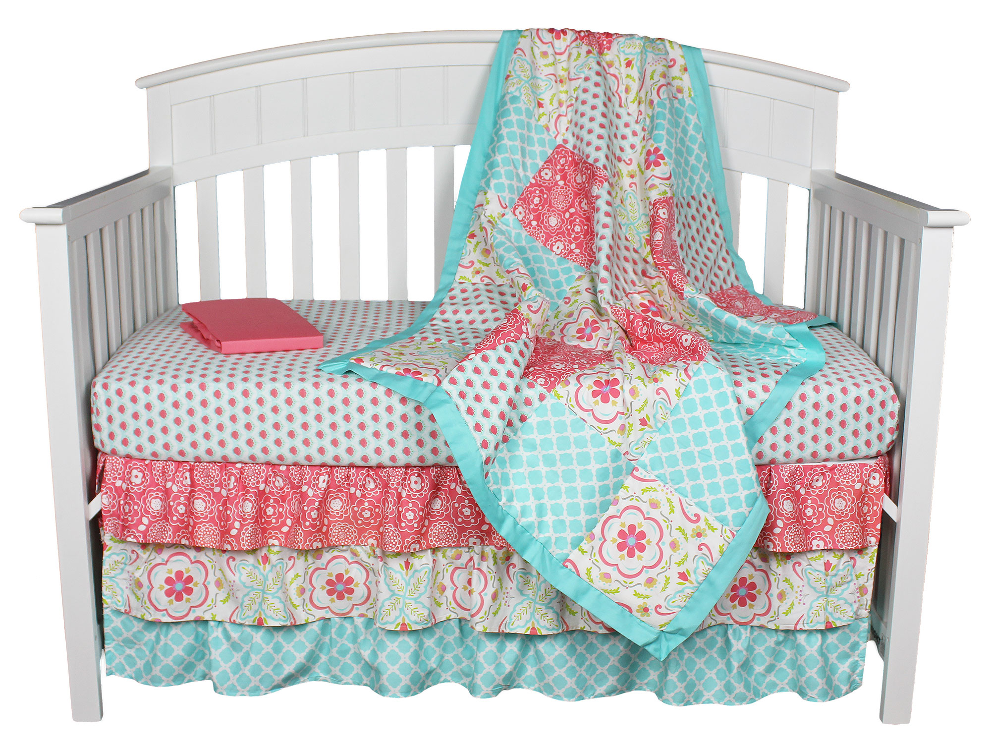 Patchwork Set Baby Gia Floral Coral Aqua Patchwork 4 In 1 Baby Girl Crib Bedding Collection