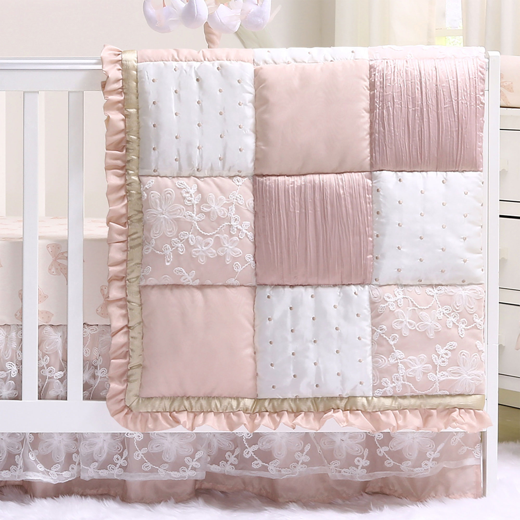 Patchwork Set Baby Details About Baby Girl Crib Bedding Dusty Pink Patchwork Grace 4 Pc By The Peanut Shell