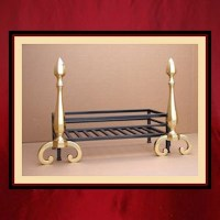 Fireplace Grate with Brass Andirons - Northshore Fireplace