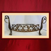 Decorative Iron Grate with Andirons - Northshore Fireplace