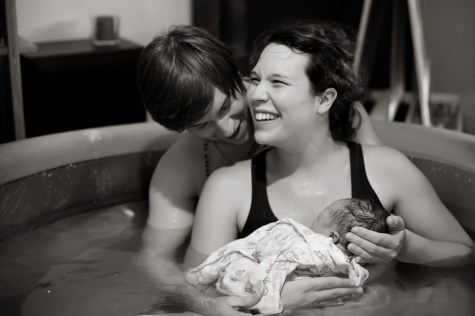 St Paul home birth midwife attending a home water birth