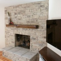 Dry Stack Stone Fireplace