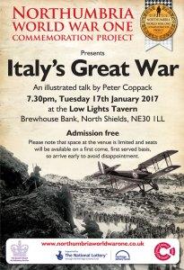 Italy's Great War Talk 17th Jan 2017 Low Lights Tavern North Shields
