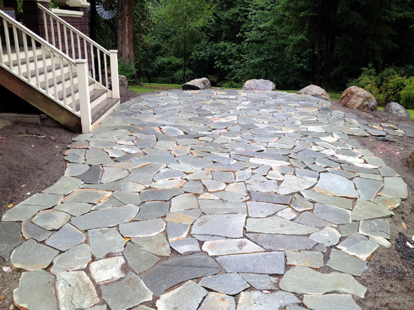 Filler For Stone Patio : Flagstone patio entryway w natural boulders
