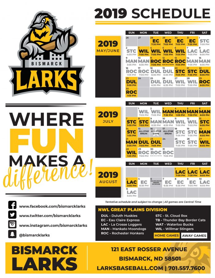 Larks 2019 Schedule Released - Bismarck Larks  Bismarck Larks