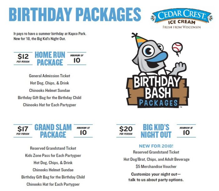 Cedar Crest Birthday Bash Packages - Lakeshore Chinooks  Lakeshore