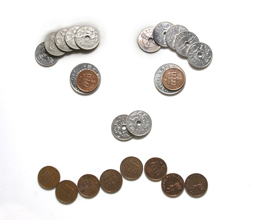 Norwegian coins shaped like an unhappy face