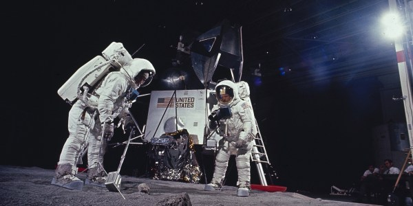 FILE - In this 1969 file photo, astronauts Edwin E. Aldrin and Neil Armstrong rehearse tasks they will perform on the moon after landing in July 1969 during the Apollo 11 mission. The detection of a fake moon rock in the Netherlands' national museum should serve as a wake-up call for more than 130 countries who received gifts of lunar rubble from both the Apollo 11 flight in 1969 and Apollo 17 three years later. Experts say the whereabouts are unknown of hundreds of tiny rocks scooped up by U.S. astronauts and given by the Nixon administration to friendly nations. (AP Photo/NASA, File)