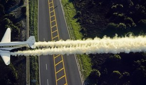 plane sprays pesticide by air